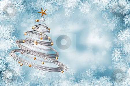 Christmas background stock photo, Christmas tree on snowflake background by Kirsty Pargeter
