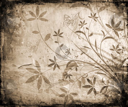 Flowers and butterflies stock photo, Abstract floral design with butterflies on grunge background by Kirsty Pargeter