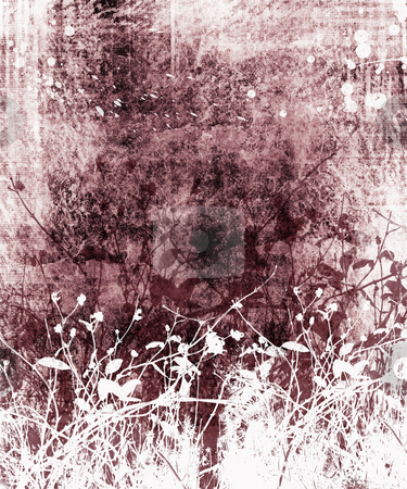 Foliage grunge stock photo, Foliage silhouettes on grunge background by Kirsty Pargeter