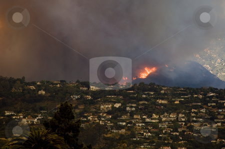 Fire Flames in Santa Barbara California stock photo, Firestorm races up a hillside in Santa Barbara California during the Juesita Fire of May 09. by Bill Robbins