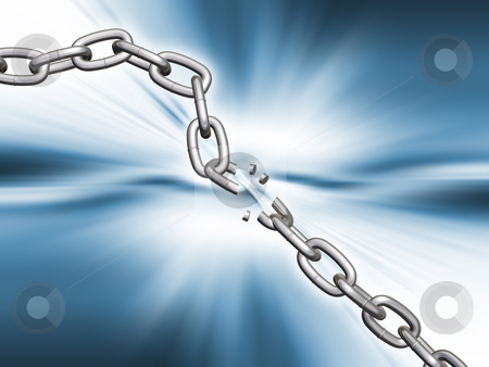 Breaking chains stock photo, 3D render of breaking chains by Kirsty Pargeter