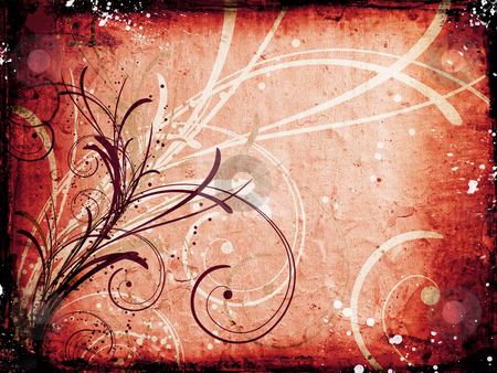 Floral grunge background stock photo, Floral design on grunge background by Kirsty Pargeter
