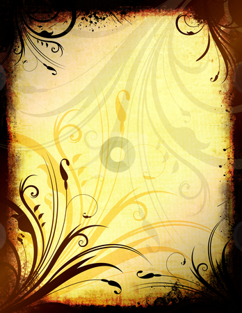 Floral grunge stock photo, Abstract floral design on grunge background by Kirsty Pargeter