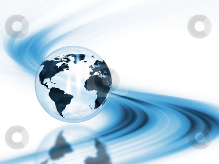 Abstract globe stock photo, 3D render of a globe on an abstract background by Kirsty Pargeter