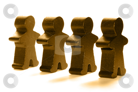 People stock photo, Wooden people standing in a line by Gjermund Alsos