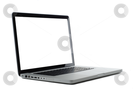 Laptop isolated on white stock photo, Laptop isolated on white with blank monitor for copy or images. Clipping path for screen. by Gjermund Alsos