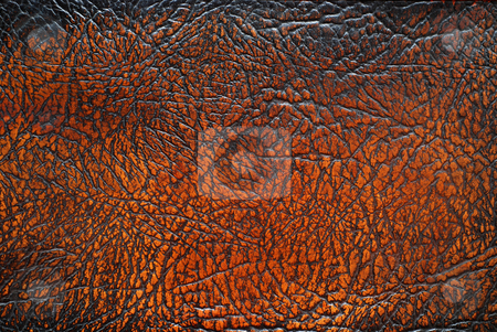 Brown leather texture stock photo, Brown leather texture from old furniture. by Gjermund Alsos