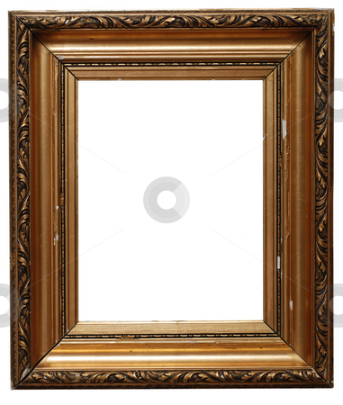 Picture frame stock photo, Golden picture frame isolated on white. Clipping path included. by Gjermund Alsos