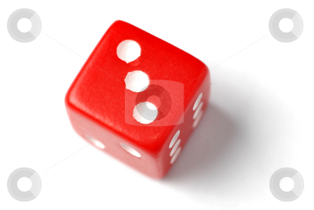 Red Die - Three at top stock photo, Blue Die on White - Three at top. Similar images of 1-6 exists by Gjermund Alsos