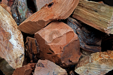 Wood Chunks stock photo, Hickory and oak wood chunks for cooking and smoking meats by Jack Schiffer
