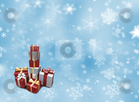 Stack of presents stock photo, Stack of presents on a snowy background by Kirsty Pargeter
