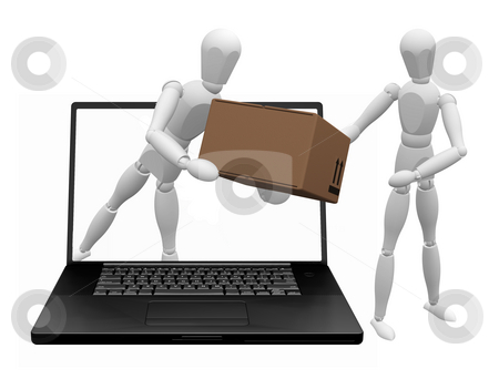Online shopping stock photo, Conceptual 3D image depicting internet shopping by Kirsty Pargeter