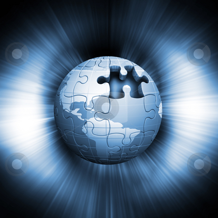 Jigsaw globe stock photo, Jigsaw globe on abstract background by Kirsty Pargeter
