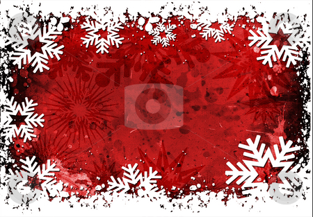 Grunge snowflakes stock photo, Grunge snowflake background with splats and drips by Kirsty Pargeter