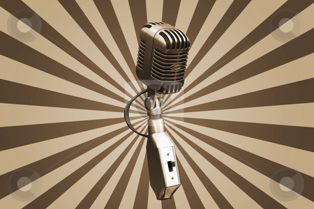 Retro microphone stock photo, retro microphone on starburst background