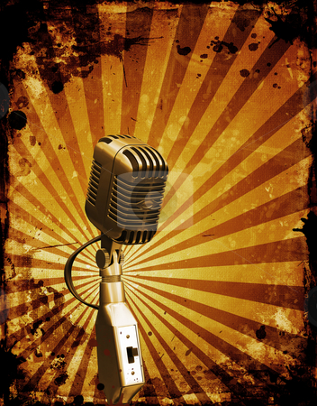 Grunge microphone stock photo, Grunge style retro microphone by Kirsty Pargeter