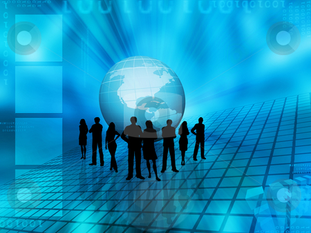 World trading stock photo, Silhouettes of a business team on an abstract globe background by Kirsty Pargeter