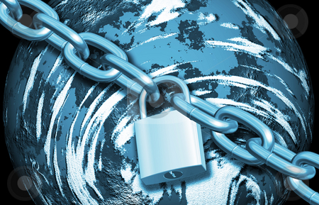 Protecting the Earth stock photo, 3D render of padlock and chain around the Earth by Kirsty Pargeter
