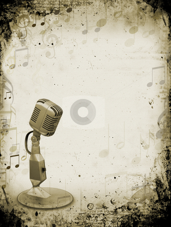 Grunge music stock photo, Retro microphone on grunge music background by Kirsty Pargeter