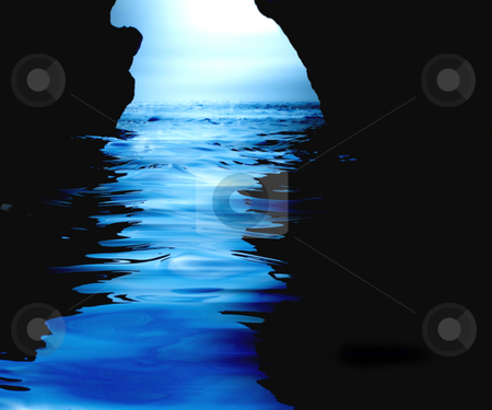 Watery cave stock photo, View from within a water cave by Kirsty Pargeter