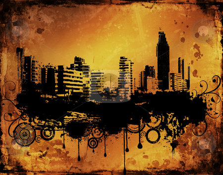 Urban grunge stock photo, Urban city scene on grunge background by Kirsty Pargeter