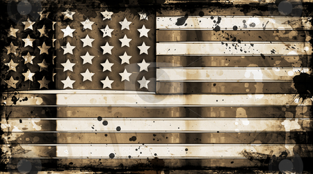 Grunge stars and stripes stock photo, American flag on grunge background by Kirsty Pargeter