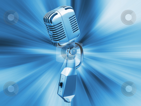 Retro microphone stock photo, Retro microphone on abstract background by Kirsty Pargeter