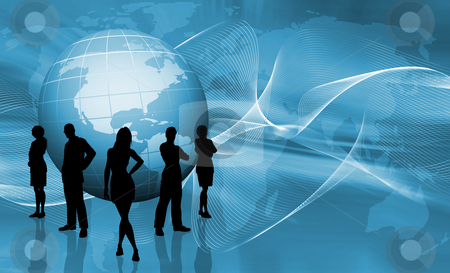 World trading stock photo, Silhouettes of a business team on abstract globe background by Kirsty Pargeter