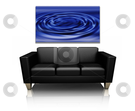 Sofa with canvas art stock photo, 3D render of a modern sofa with canvas art of water ripples by Kirsty Pargeter