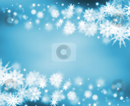 Snowy border stock photo, Border of snowflakes by Kirsty Pargeter