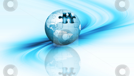 Jigsaw globe stock photo, 3D render of a jigsaw globe on an abstract background by Kirsty Pargeter