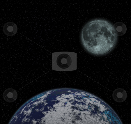 Moon and Earth stock photo, Fictional image of the moon and earth by Kirsty Pargeter