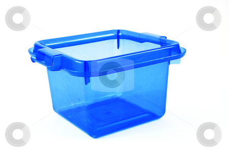 Blue bin stock photo, Pictures of a blue plastic bin over a white background by Albert Lozano