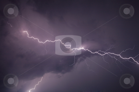 Thunderbolt stock photo, Thunderstom over Bern, Switzerland by mdphot