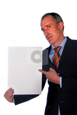 Add stock photo, Business man with an empty white card by Rui Vale de Sousa