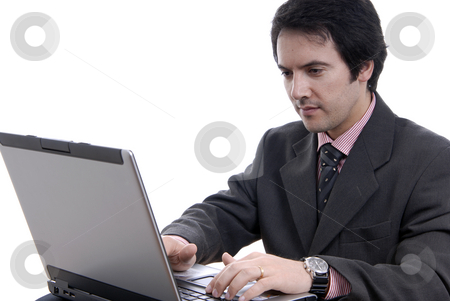 Worker stock photo, Handsome young business man working with laptop by Rui Vale de Sousa