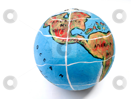 Globe stock photo, Closeup of a globe showing the america isolated on white by Rui Vale de Sousa