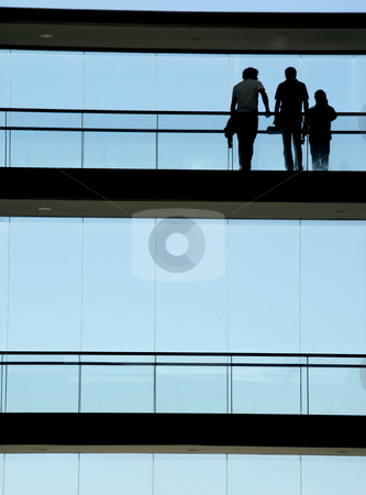 Workers stock photo, Workers in the modern building and the blue sky by Rui Vale de Sousa
