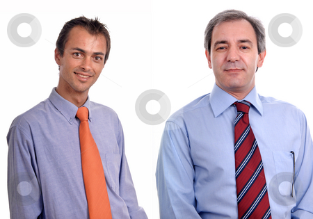 Portrait stock photo, Two young business men portrait on white. by Rui Vale de Sousa