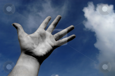 Hand stock photo, Open hand in black and white and the blue sky by Rui Vale de Sousa
