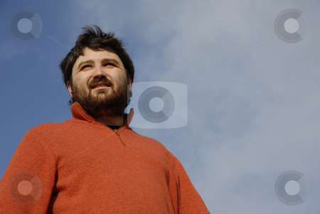 Man stock photo, Young casual man with the sky as background by Rui Vale de Sousa