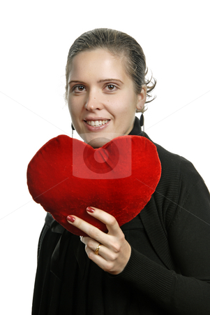 Heart stock photo, Pretty young woman holding a Valentines heart by Rui Vale de Sousa