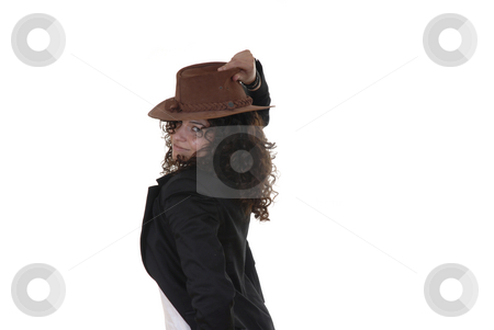 Leaving stock photo, Young woman with a hat in a white background by Rui Vale de Sousa