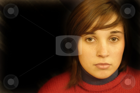 Eyes stock photo, Young lovely girl portrait in a dark background by Rui Vale de Sousa