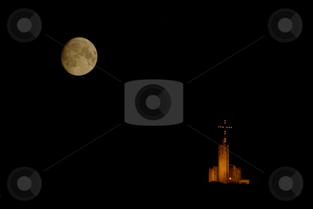 Church stock photo, Church and the big moon in the dark night by Rui Vale de Sousa