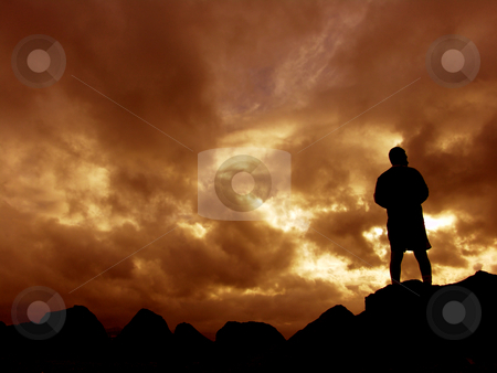 Sunset stock photo, Man at the sunset by Rui Vale de Sousa