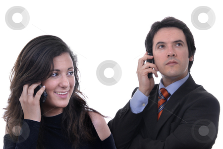 Calling stock photo, Woman secretary answering a call from a businessman by Rui Vale de Sousa