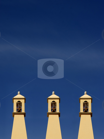 Chimney stock photo, Chimney house detail with the sky as background by Rui Vale de Sousa