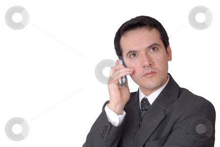 Calling stock photo, Young man on the phone in white background by Rui Vale de Sousa