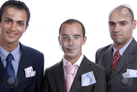 Money stock photo, Three Business men with money isolated on white by Rui Vale de Sousa